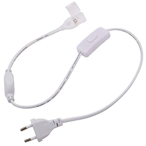 Fuente de Alimentación de 80cm Cable Alimentador con Interruptor EU Enchufe Conector para XUNATA Tira de LED (10mm, 2 pin)