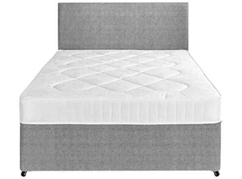 Perfect Sleep 3FT Single Grey Fabric Divan Bed Including Medium feel Quilted Mattress And Headboard