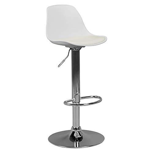 AMSTYLE Korsika   Barhocker mit Kunstleder in Weiß   Hocker ist höhenverstellbar   Design Sitzhocker Barstuhl mit Rückenlehne   Tresenhocker Tresenstuhl mit Schalensitz   Barmöbel für Hausbar