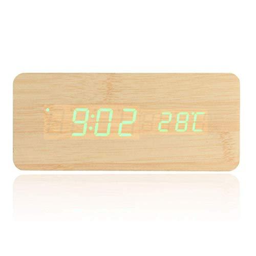 BECCYYLY Reloj de cabecera, Reloj de Alarma Ajustable Digital LED Escritorio de Madera Reloj Despertador con termómetro Control de Voz, Simple (Color: Verde) wmpa (Color : Green)