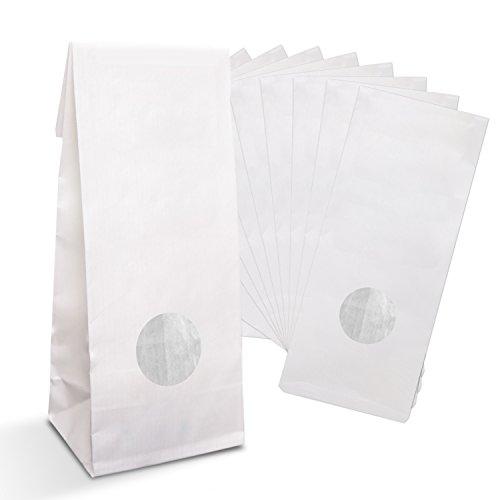 Logbuch-Verlag 50 kleine weiße Papiertüten MIT FENSTER Folieneinlage 7 x 4 x 21,5 cm lebensmittelecht Teetüten Blockbodenbeutel Kekstüten Plätzchentüten