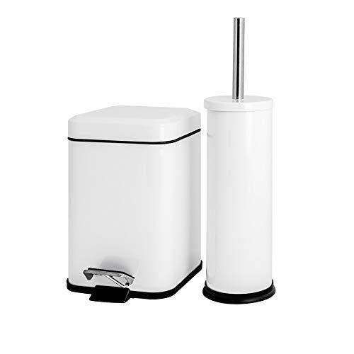 Price comparison product image Harbour Housewares Bathroom Pedal Bin & Toilet Brush Set - 3L Square Bin - White