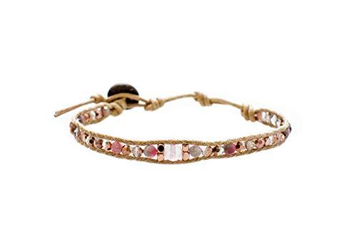 Lotus and Luna Boho Single Strand Bracelet for Women (Desert Rose)