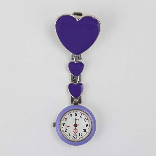 Cxypeng Pulsuhr Kitteluhr Pflegeuhr,Liebe Armband Quarzuhr, Klassische Krankenschwester Uhr Geschenk Uhr-lila,Schwesternuhr mit Pin/Clip
