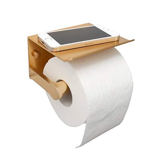 Toilettenpapierhalter ohne Bohren von Anadaz - selbstklebender Klopapierhalter mit Ablage (Gold)