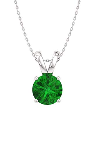 Diamondere Natural and Certified Emerald Solitaire Necklace in 14k White Gold | 0.70 Carat Pendant with Chain