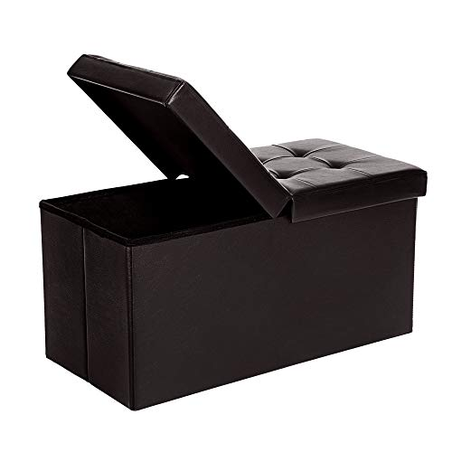 SONGMICS 30 Inches Folding Storage Ottoman Bench with Flipping Lid, Storage Chest Footstool , Faux Leather, Brown