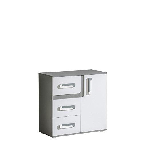 Mirjan24 Kommode Apetito AP08 mit 3 Schubladen, Sideboard, Highboard, Schubladenkommode, Schrank für Jugendzimmer (Anthrazit/Weiß)