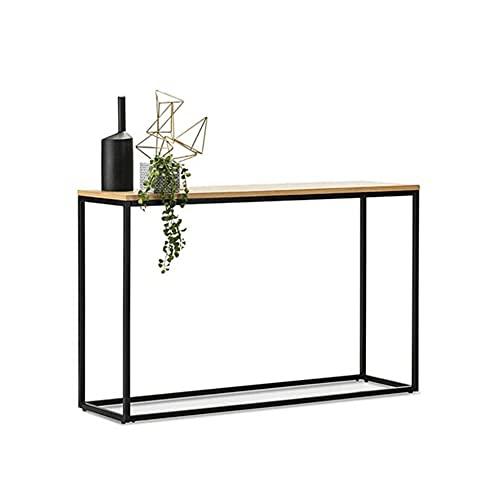 LIANG Mesa auxiliar industrial de madera de la entrada de la tabla del sofá con el marco del tubo del hierro para el pasillo, sala de estar - 31.4x11.4x31.4 pulgadas