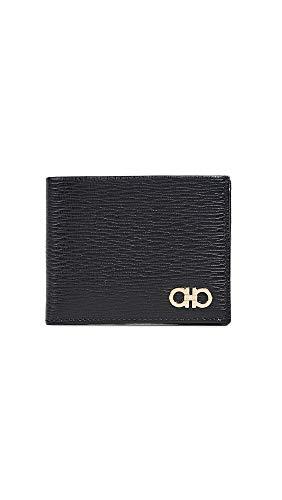 Salvatore Ferragamo Men's Revival Bifold Wallet, Black/Gold, One Size