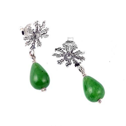 Pendientes largos Eguzkilore de plata y jade diseño exclusivo contemporáneo