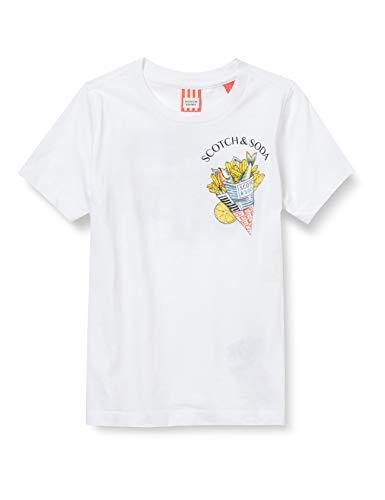 Scotch & Soda Shrunk Short Sleeve Tee with Photo Print Artwork in Organic Cotton T-Shirt, 0006 White, 8 Bambino