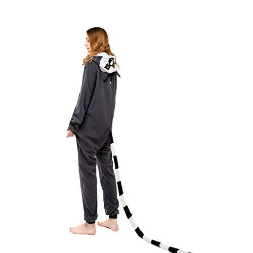 ZHHAOXINPA Jumpsuit Onesie Lemur Tier Karton Fasching Halloween Kostüm Sleepsuit Cosplay Overall Pyjama Schlafanzug Erwachsene Unisex Lounge, M