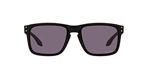 Oakley Men's OO9244 Holbrook Asian Fit Rectangular Sunglasses, Polished Black/Prizm Grey, 56mm