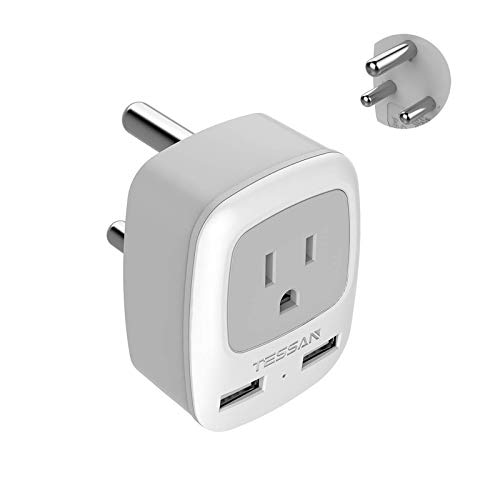 South Africa Power Adapter, TESSAN International Grounded Travel Plug Adaptor with 2 USB &1 American Outlet Charger for Type M Country Such as Bhutan, Botswana, India, Israel Namibia Nepal Pakistan
