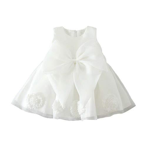 Loalirando Vestido a la moda para nia de novia vestido de verano de encaje liso cuello redondo volante vestido de princesa de trapecio vestido de banquete Velo Blanco 18-24 Meses