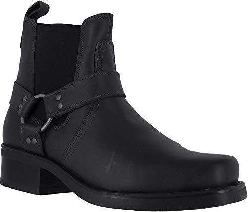 Gringos M486Harley Leder-Stiefeletten für Herren, Biker-/Cowboy-Stil, Schwarz - schwarz - Größe: 41.5