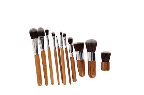 LJSLYJ 11Pcs Pinceaux de Maquillage de Poignée de Bambou Professionnel Mis Poudre Fard à Joues Fard à Paupières Eyeliner Avec Sac en Lin Portable