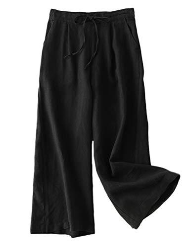 Mordenmiss Women's Linen Drawstring Pants Wide Leg Elastic Waist Cropped Pants Trousers (XXL, Black)
