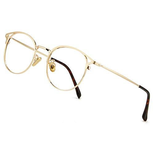Cyxus Blaulichtfilter Brille Damen mit Katzenauge, Rund Mode Vintage Brille Ohne Stärke, Anti Schädliches Blaulicht UV400 von Handy, Computer, PC(Gold)