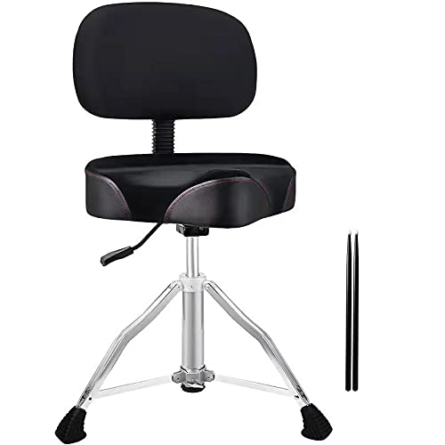 CHACHAZO Drum Throne Drum Chair with Backrest, Airlift Drum Stool with Back Rest Motorcycle Style Hydraulic Drum Throne Heavy Duty with Cloth Top Memory Foam Drummer Stool &5A Sticks