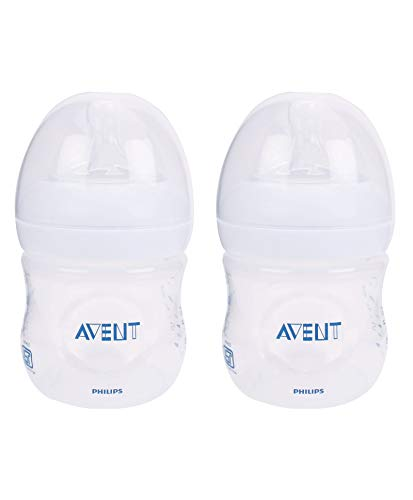 Phillips Avent 125ml Natural Feeding Bottle (Clear, Pack of 2)