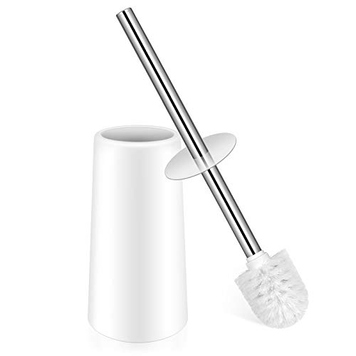 Toilet Brush Toilet Brush with Holder Toilet Bowl Brush with Stainless Steel Handle Durable Bristles Deep Cleaning Compact Bathroom Brush Save Space Good Grip AntiDrip White