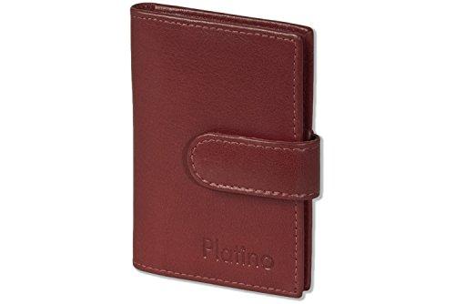 Platino Titular de la tarjeta de crédito XXL, 19 compartimentos de tarjetas de cuero suave, sin tratar con la cereza