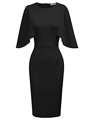 GRACE KARIN Women's Round Neck Hips-Wrapped Bodycon Pencil Dress L Black