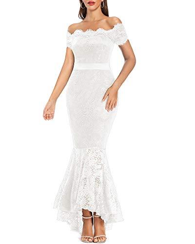 LALAGEN Women's Floral Lace Long Sleeve Off Shoulder Wedding Mermaid Dress Short Sleeve White M
