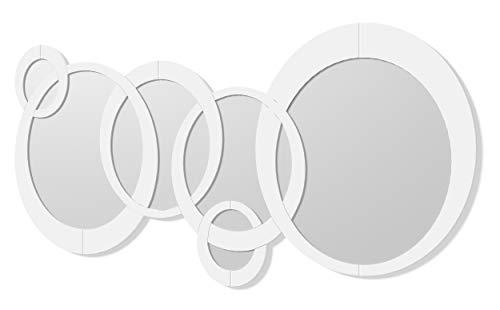 DekoArte E007 - Espejos Decorativos Modernos De Pared | Espejos Decoración para Tu Salón Dormitorio, Entrada, Recibidor | Espejos Sofisticados Grandes Circulos Color Blanco | 1 Pieza 140 x 70 cm
