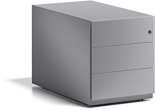 BISLEY Rollcontainer Note mit Griffleiste, 3 Universalschubladen, 355 Silber, 77.5 x 42 x 49.5 cm