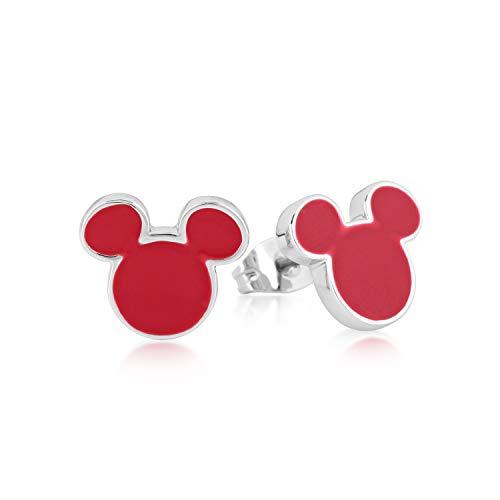 Disney Couture Kingdom Topolino - Orecchini smaltati rossi e placcati in oro bianco
