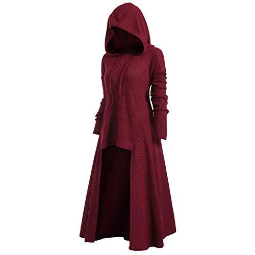 Sudaderas Jersey Sweater Moda para Mujer Capa Vintage Moda Capa con Capucha Tallas Grandes Suéter Capa Larga Medieval Abrigo XL Rojo