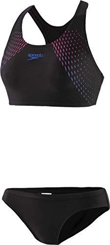 Speedo Damen Bikinis-68-12596F228 Bikini, Black/Beautiful Blue/Elec Pink, M