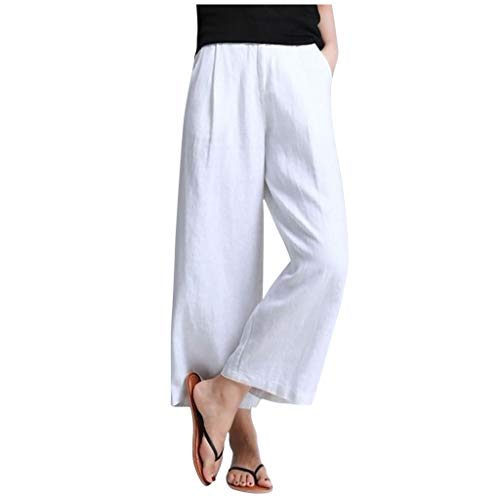 Zarupeng Dames elegante stoffen broek vrije tijd broek hoge taille losse chino-broek effen lange broek brede pijpen broek