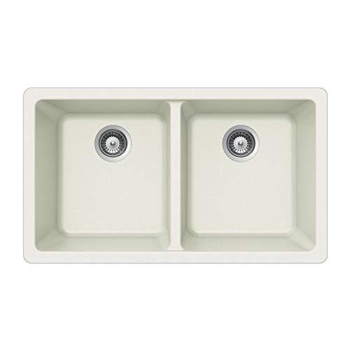 Houzer M-200U CLOUD Quartztone Series Granite Undermount 50/50 Double Bowl Kitchen Sink, White