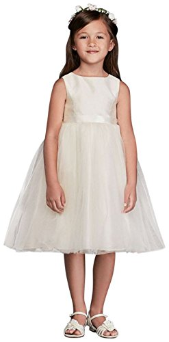 Flower Girl/Communion Dress with Tulle and Ribbon Waist Style OP218, Ivory, 4