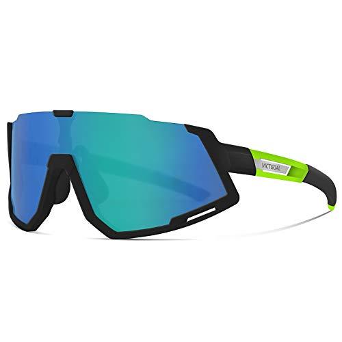 VICTGOAL Fahrradbrille Sportbrille Polarisierte UV400 Schutz mit 3 Wechselgläser Leichte Sonnenbrille für Herren Damen zum Radfahren Wadern Laufen (Schwarz Grün)