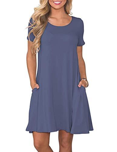 Vestidos de Camiseta Casual de Verano para Mujer Vestido de Manga Corta con Bolsillos