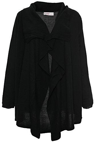 Sheego Strickjacke Cardigan Jacke Damen Langarm Plusgröße Übergröße Viskose, Farbe:schwarz, Damengrößen:52