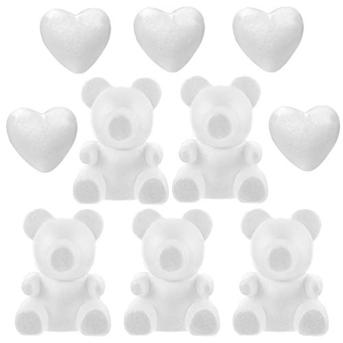 Amosfun 10Pcs Cuore Artigianale Polistirolo Polistirolo Stampo Modellismo Orso Teddy Bear Figurine Bianco Stampo Fai da Te per La Disposizione dei Fiori Regali di San Valentino