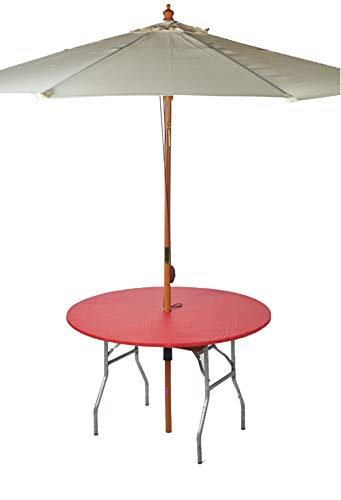 Kwik-Covers 48' Round Umbrella Fitted Plastic Table Covers, Bundle of 5 (Red)