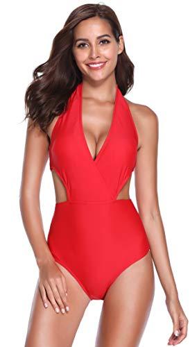 SHEKINI Damen Einteiliger Badeanzug Neckholder V-Ausschnitt High Waist Rückenfrei Sexy Einfarig Bademode (XL, B-Rot)