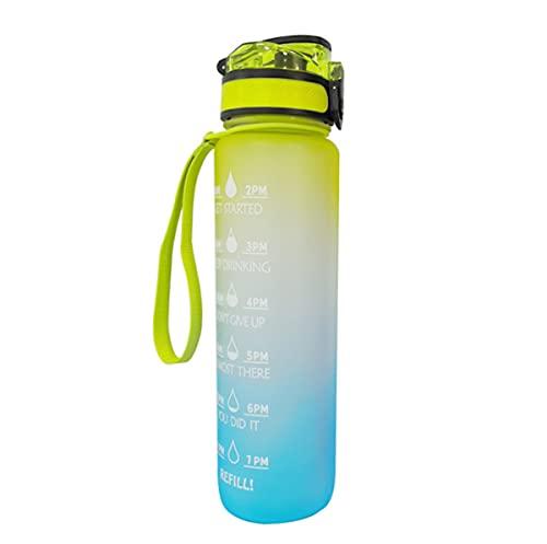 MAQRLT Botella de Beber, 1000 ml, Botella de Agua Deportiva con Marca de Tiempo Motivacional, BPA Gratis, a Prueba de Fugas, para niños, Escuela, Deportes, Ciclismo, Camping, Universidad,Yello