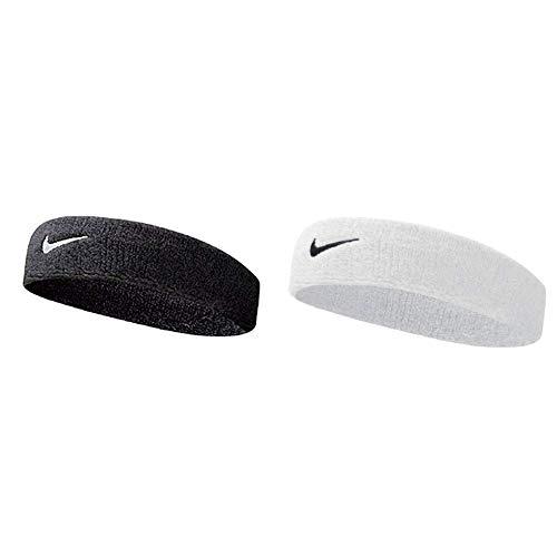 Nike UnisexErwachsene Swoosh Headband/Stirnband, Schwarz (Black/White), Einheitsgröße & UnisexErwachsene Swoosh Headband/Stirnband, Weiß (White/Black), Einheitsgröße