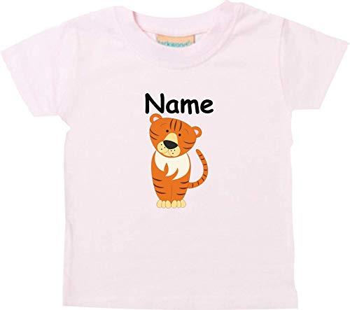 Shirtinstyle Bébé Haut, Tigre Animal Motifs Nom Souhaité - Rose, 18-24 Monate