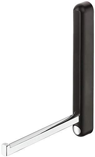 Gedotec H8001 Opvouwbare kapstok, wandpaneel, kledinghaken, inklapbaar, metaal, zwart, gepolijst chroom, made in Germany, 1 stuk