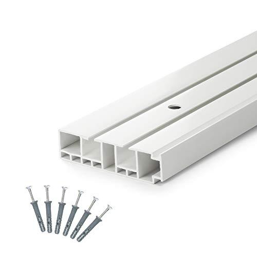 DQ-PP] 240cm (1 x 150 cm + 1 x 90 cm + Verbinder) Gardinenschienen PVC 2 - läufig Innenlaufschienen Deckenschiene