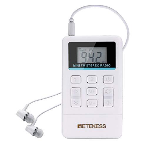 Retekess TR612 Mini Radio portatile, Ricevitore FM Stereo con Auricolare, Radio Portatili a Batteria per Esterni, Viaggi, Conferenze, Scuole (Bianco)